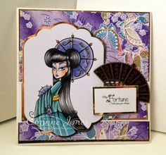 Geisha Girls, Simply Betty Stamps Just Amazing, Copic, Geisha, Cherry Blossom, Scrap, Projects, Stamps, Cards, Coloring