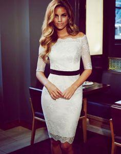 Lipsy VIP Bardot cream off the shoulder lace pencil dress wedding races UK 8 Wedding Rehearsal Dress, Dress Wedding, Bridesmaid Dress, Bridesmaids, Vip Dress, Lipsy Dresses, Luxury Dress, White Lace, Beautiful Dresses