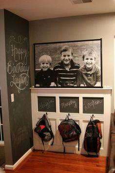 My Top Tips for Keeping Organized in the New Year. organize backpacks with chalkboard