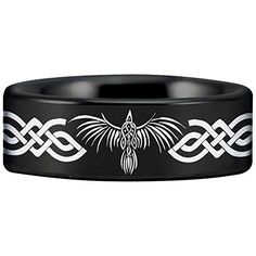Fine Jewelry Designed Fit for Men and Women Use Wedding Band and Anniversary Ring Friends of Irony Tungsten Carbide Celtic Raven Ring 8mm