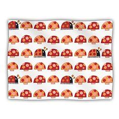 40 x 30 KESS InHouse Jane Smith Potted Florals Orange Teal Fleece Baby Blanket