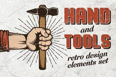 Hand and tools set by DreamBikeShop on @creativemarket