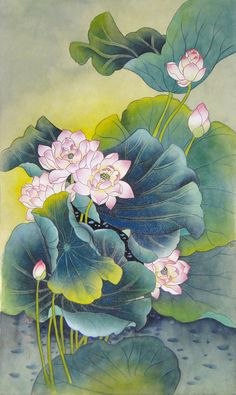 Lotus Flower Pictures, Lotusblume Tattoo, Peacock Wall Art, Pichwai Paintings, Lotus Painting, Photo Deco, Lotus Art, China Art, Korean Art