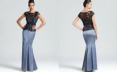 Adrianna Papell Peplum Gown - Cap Sleeve Lace Top