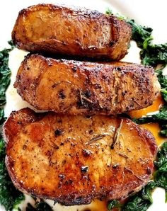 These Rosemary Garlic Butter Pork Chops are super easy to make and are really really delicious! Go ahead and serve these pork chops with mash potatoes or a salad of your liking. Honey Garlic Pork Chops, Baked Pork Chops, Best Pork Chop Recipe, Pork Chop Recipes, Chicken Recipes, Pork Ribs Grilled, Cooking Recipes, Healthy Recipes, Grill Recipes
