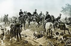 Historical drawing, Albert of Saxony, 1828-1902, King of Saxony in the Battle of Gravelotte, 16 August 1870, scene from the Franco-Prussian War or Franco-German War 1870-1871, between the French Empire and the Kingdom of Prussia - pin by Paolo Marzioli