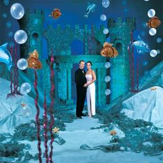 Blue Paradise Complete Theme/ blue tablecloths/sheets/fabric/paper to drape/tape over everything (clear balloons backdrop) Mermaid Under The Sea, Under The Sea Theme, Under The Sea Party, Middle School Dance, School Dances, High School, School Dance Decorations, Mermaid Decorations, Mormon Prom