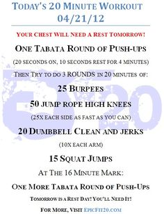 Today's 20-Minute Workout 04/21/12