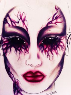 Facechart by Sherrie sparkes Halloween makeup #halloween #makeup #facechart #vampier #mac #prochart #mua #makeupartist