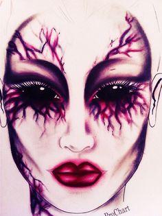 Facechart by Sherrie sparkes Halloween makeup #halloween #makeup #facechart #vampier #mac #prochart #mua #makeupartist