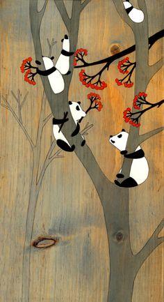 "Breakfast at Tree House [9""x21""] Acrylic on wood by Kristiana Parn"