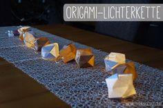 Origami-Lichterkette inkl. Anleitung Origami, Blogging, Tableware, Tutorials, Gifts, Dinnerware, Tablewares, Origami Paper