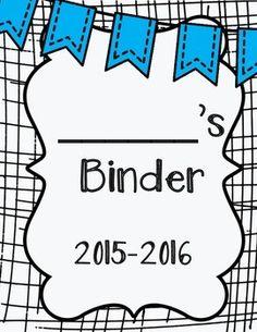 Student Binder & Take Home Folder Covers (w/ Folder Labels