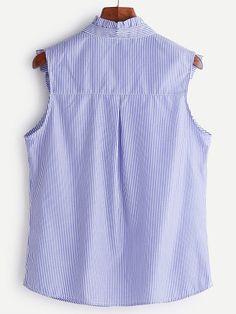 Blusa sin mangas de rayas con volantes y bordado - azul -Spanish SheIn(Sheinside) Sitio Móvil