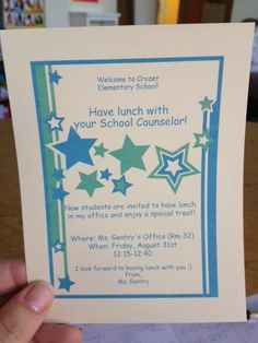 Shows how to make these invitations as well as a book on how to explain your role to kids as the school counselor