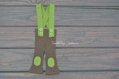 Newborn Photography Pants  Upcycled Brown Cable Knit Pants with Olive Green Suspenders by ToodleBugCreations, $23.00