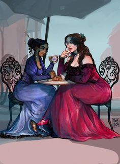 """When we're back in Ketterdam, take me out for waffles."" In anticipation for Crooked Kingdom to be released soon!; Inej and Nina enjoying waffles in Ketterdam on a much needed break from pulling off heists and nearly getting themselves killed in the process. -they also went shopping."