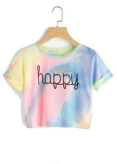 Happy Rainbow Pastel Tie Dye T Shirt,Women Letter Print Tee Beach to Bar Night Club Party Short Crop T shirts Tie Dye Crop Top, Crop Tee, Tee Shirt, Batik Mode, Teen Fashion, Fashion Outfits, Fashion Styles, Fashion Art, Runway Fashion
