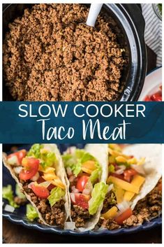 Jan 2020 - The most tender and flavorful slow cooker beef tacos. Simmering all day gives this taco meat an incredible texture. This is a super simple and utterly delicious meal, a real crowd pleaser! Slow Cooker Beef Tacos, Crockpot Beef Tacos, Ground Beef Crockpot Recipes, Slow Cooker Ground Beef, Crock Pot Tacos, Ground Beef Tacos, Crockpot Dishes, Slow Cooker Recipes, Slow Cooking
