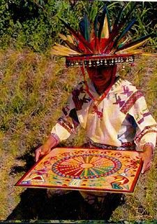 Huichol Indian with Yarn Painting