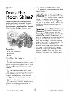 Here's a printable information and activity page on the moon.