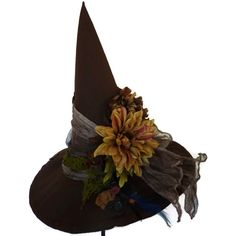 Professor Sprout Inspired Witch Hat (425 CNY) ❤ liked on Polyvore featuring costumes, hats, halloween, accessories, harry potter, witch, vintage costume, salem witch costume, flower halloween costume and flower costume