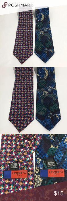 "Ungaro Paris Abstract Tie Bundle 100% Silk Italy Men's Ungaro Paris 2 tie bundle. Both ties are 100% Silk and made in Italy.   Blue abstract tie 58"" long, 3.75"" wide Pink Geometric tie 59"" long, 3.75"" wide Ungaro Paris Accessories Ties"