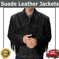 Shirt collar with Zip in front, Fringes on the arms, front and the back. Any size of Jacket available as per your Requirements for Customization is available. This jacket is made of suede Leather Western Style with Fringe.  More Details = Whats app = 00923046128675  MAS_Group Has a Wide Range of Leather Products that will fulfill all Our Customers' Needs. We Guarantee the Satisfaction of our Products Through Quality Service, Low Prices, Best Quality, Fast & Safe Delivery. Western Vest, Western Cowboy, Western Style, Fringe Leather Jacket, Fringe Coats, Leather Jackets, Tan Jacket, Bomber Jacket, Suede Leather
