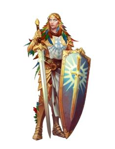 Female Aasimar Paladin or Warpriest of Iomadae - Pathfinder PFRPG DND D&D 3.5 5th ed d20 fantasy