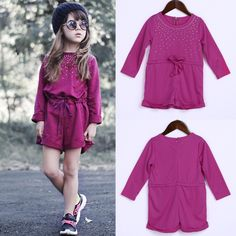 Kids Baby Girls Jumpsuit Long Sleeve Bodysuit Toddlers Clothes Outfit