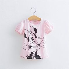 Baby Girls Cartoon Hello Kitty Tshirt  Minnie Mickey Mouse Summer Short-Sleeved…