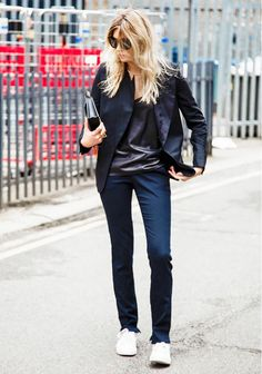 Dress down the classic blazer and dress pants with a casual sneaker