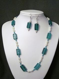 Terrific Teal Necklace with Lampwork Glass, White Glass Pearls and Teal Swarovski Quartz Crystals