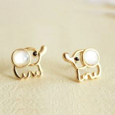 White Opal Lovely Elephant Earrings Studs for only $9.99 - @StacyHaggard!