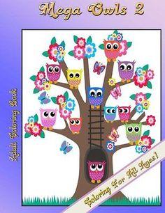 Mega Owls 2 Kids Adult Fun Relaxing Artistic Majestic Designs Coloring Book
