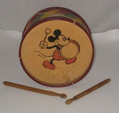 "1930's WDE Walt Disney Enterprises Mickey Mouse Toy Drum set Pie Eyed 6.5"" Diam"