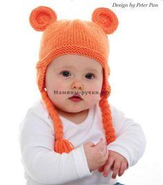Вязаная спицами детская шапка с ушками (ear flap hat knitting)