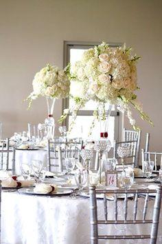 Elegant white wedding centerpiece,