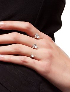 Two Finger Ring Sterling Silver Cz stones Pear by BeMeJewellery, $69.99