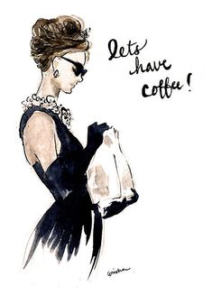 Let's have coffee! Audrey Hepburn Breakfast at Tiffanys Invitation by rishann Audrey Hepburn Breakfast At Tiffanys, Audrey Hepburn Decor, Audrey Hepburn Inspired, George Peppard, Illustration Mode, Audrey Hepburn Illustration, Audrey Hepburn Drawing, Audrey Hepburn Wallpaper, I Love Coffee