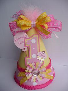 Polka Dot Pink Lemonade Birthday Party Hat - Personalized. $14.50, via Etsy.
