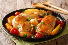 Sour sweet chicken breast baked with peaches, tomatoes, onion, parsley and honey garlic Chicken Recipes For Kids, Chicken Recipes Video, Baked Chicken Recipes, Peach Sauce, Ripe Peach, Glazed Chicken, Baked Chicken Breast, Healthy Pastas, Food Videos