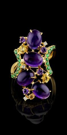 Master Exclusive Jewellery, ring from Kaleidoscope collection, amethyst, yellow…