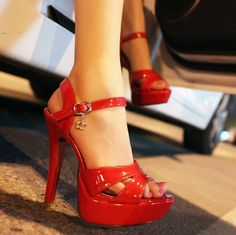 ENMAYER 2014 New Fashion Women High Heel Sandals Sexy Women Dress Shoes Rome Style Platform Sandals red wedding $58.50