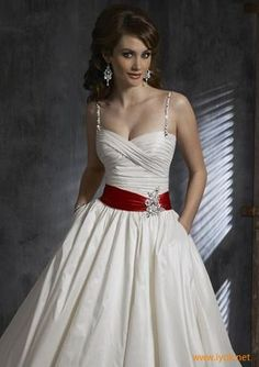 wedding dress with red accent