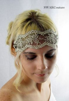 Great Gatsby Embroidered Lace Gold and Black Stretchy Headband Wedding Hair Band Wide Stretchy Lace Hairband on Etsy, $22.19 CAD