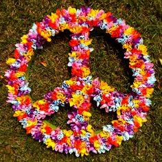 peace sign covered in plastic flowers. Perfect for bid day! Hippie Birthday Party, Hippie Party, 60th Birthday Party, Fiesta Flower Power, 60s Theme, 60s Party Themes, Party Ideas, Decade Party, Silvester Party