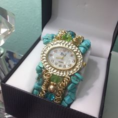 Teal and gold watch Teal and gold bracelet watch Accessories Watches