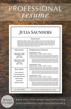 Professional Resume Template for Word  Instant Download Resume Template  US Letter and A4 CV Templates included  Mac & PC Compatible