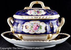 This is such a super Crown Derby Sauce Tureen and stand - beautifully hand painted floral posies of roses tulips daisies and others in white cartouches, with lion's paw feet crowned with lions' masks. Antique Dishes, Royal Crown Derby, Plates And Bowls, Chocolate Pots, Fine Porcelain, China Dinnerware, Vintage China, Serving Platters, Decorative Plates